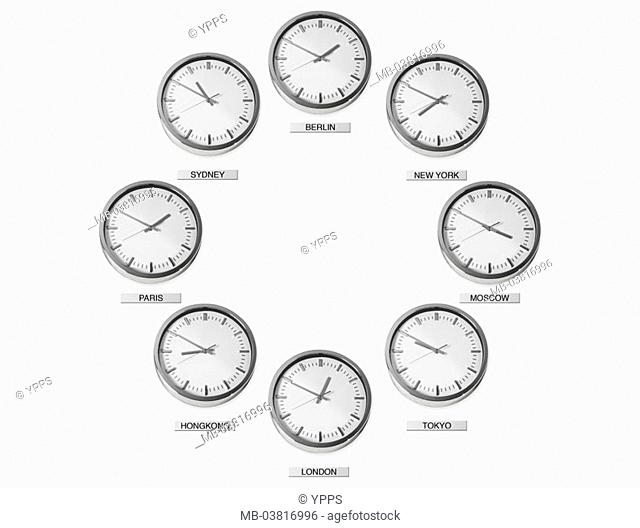 Clocks, metropolises, international, Times, different,   Wall clocks, timers, eight, hang, side by side, among each other, world time, time-lag, ad, time