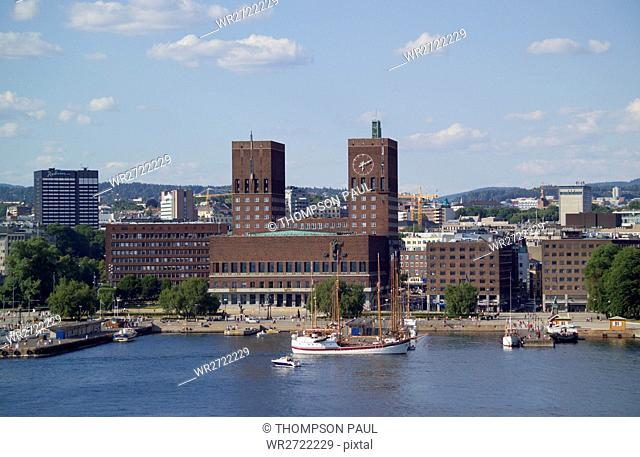 90900226, Oslo, Norway, harbour, harbor, city hall