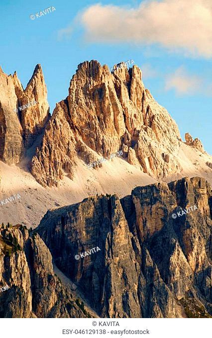 Rocky mountain peaks of Croda da Lago in the Dolomites, Italian Alps