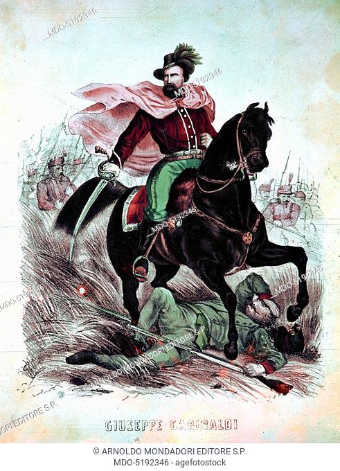 Equestrian Portrait of Giuseppe Garibaldi (Ritratto equestre di Giuseppe Garibaldi), 19th Century, engraving