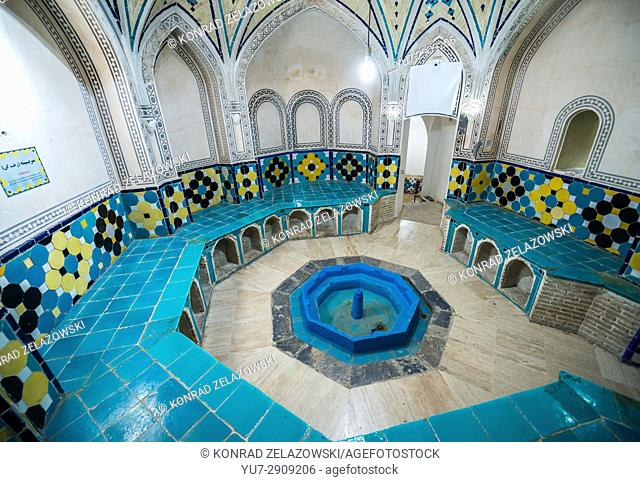Cloakroom of Sultan Amir Ahmad Bathhouse also known as Qasemi Bathhouse in Kashan city, capital of Kashan County in Iran