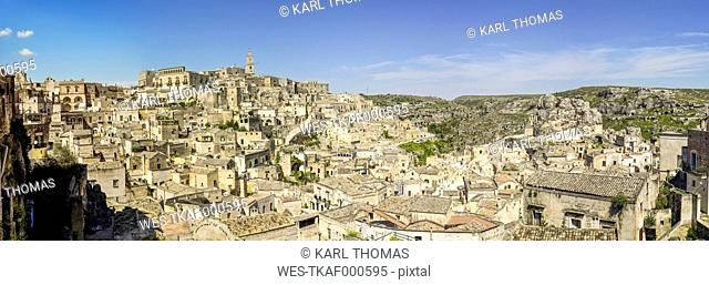 Italy, Basilicata, Matera, Old town, View to Sassi of Matera, Panorama