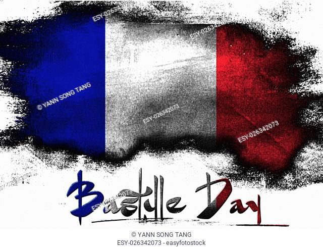 Bastille Day in France painted with brush on solid background