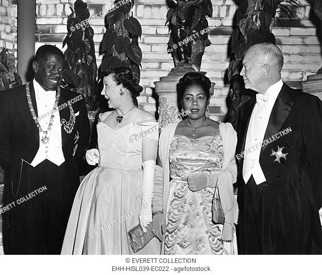 President and Mamie Eisenhower at a dinner in their honor given by Pres. And Mme. Migliori of Haiti. Sheraton Park Hotel, Jan 28, 1955