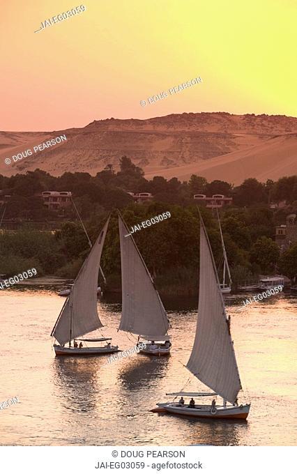 Feluccas on River Nile, Aswan, Egypt