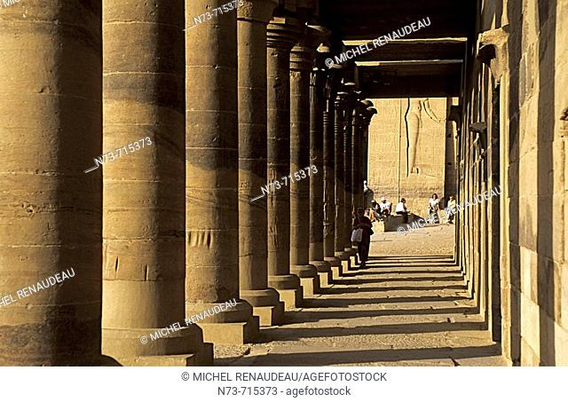 East colonnade of temple, Philae. Aswan, Egypt