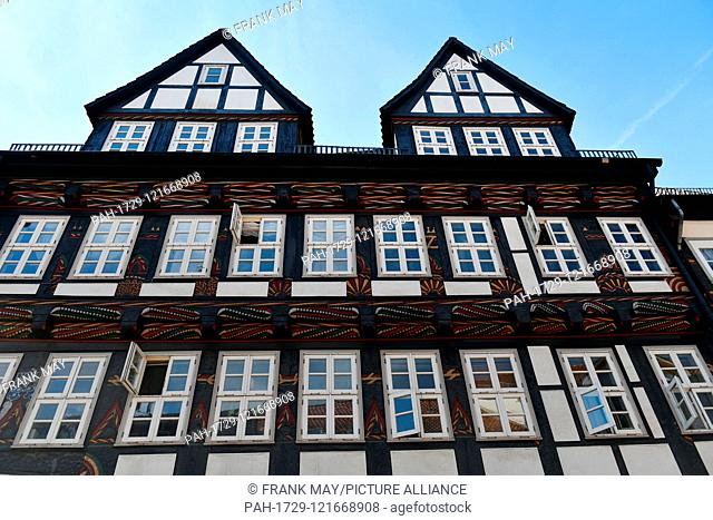 Historical frame house, Germany, city of Einbeck, 24. June 2019. Photo: Frank May | usage worldwide. - Einbeck/Niedersachsen/Germany