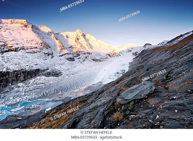 Mountains, Alps, Großglockner, glaciers, snow, light, sun, morning, lake, stones, rocks, atmosphere
