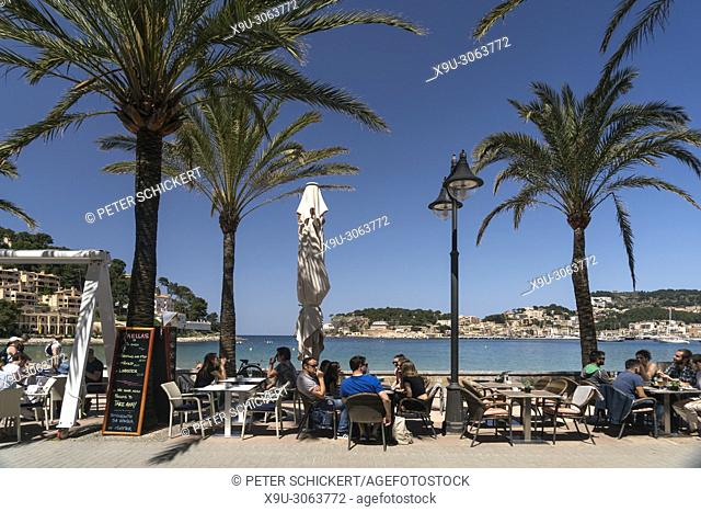 beach promenade cafe, Port de Soller, Majorca, Balearic Islands, Spain,