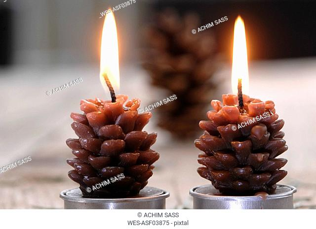 Fir cone shaped candles, close-up