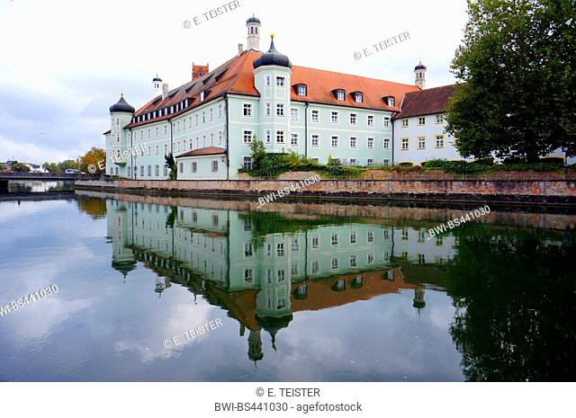 Heilig-Geist-Spital hospital mirroring in Isar river, Germany, Bavaria, Isar, Landshut