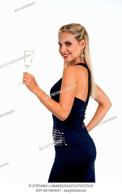 Beautiful blond woman celebrating New Year's Eve or Birthday