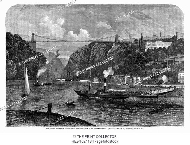 The Clifton suspension bridge across the River Avon, 1864. Spanning the River Avon 245 feet above the water, the Clifton Suspension Bridge was designed by...