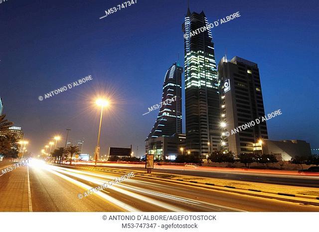 Bahrain financial harbour buildings at dusk, Manama, Bahrain