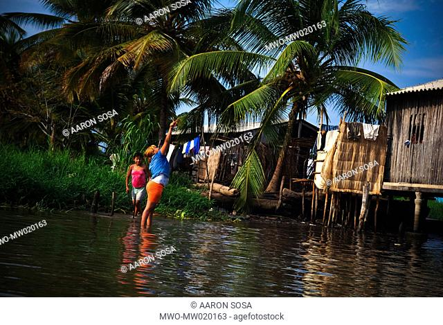 The Sinamaica lagoon is a large extension of water located northwest of Zulia state, Venezuela The Sinamacia village inhabited by the ethnic Añu Indians is one...