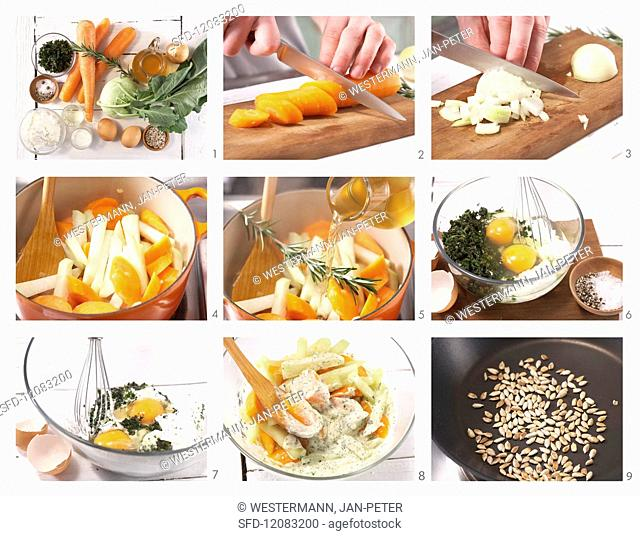How to prepare carrot & kohlrabi gratin with herb quark