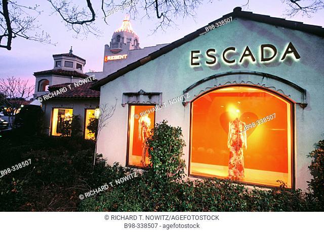 USA. Texas. Dallas. Highland Park Village. Built in 1931, Village Theater Escada at dusk