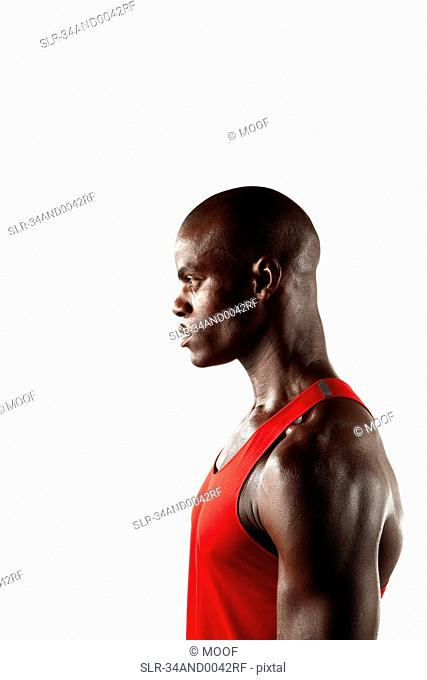 Profile of athlete's face and chest