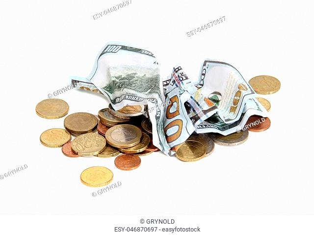 Metal and paper money on a white background