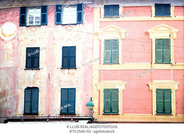 Facades of two buildings of classical Italian architecture, in sienna color, with stucco and green booklet shutters on the windows
