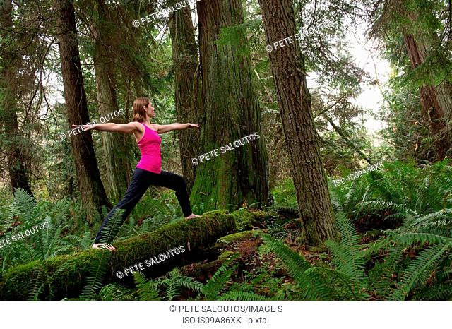 Mature woman performing warrior pose in forest