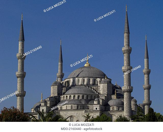 Sultan Ahmed Mosque (Sultan Ahmet Camii), by Sedefkâr Mehmed A?a, 1609-1617, 17th Century. Turkey, Istanbul. Whole artwork view