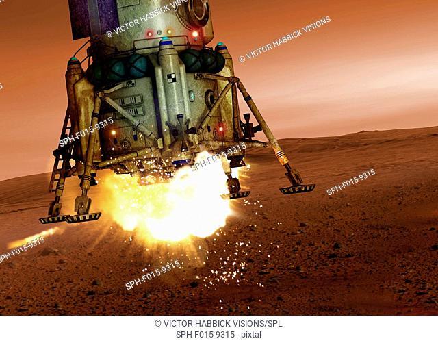Space craft landing on planet, illustration