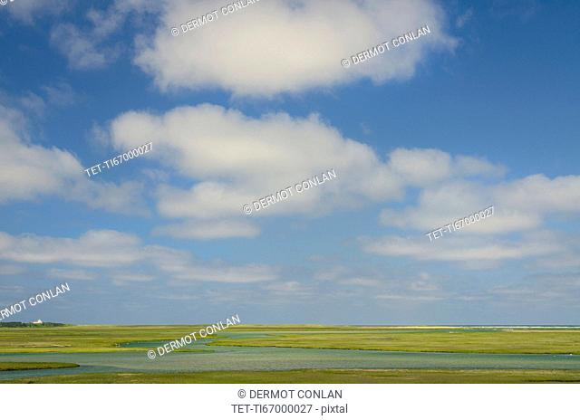 Cloudy sky view over tidal marsh