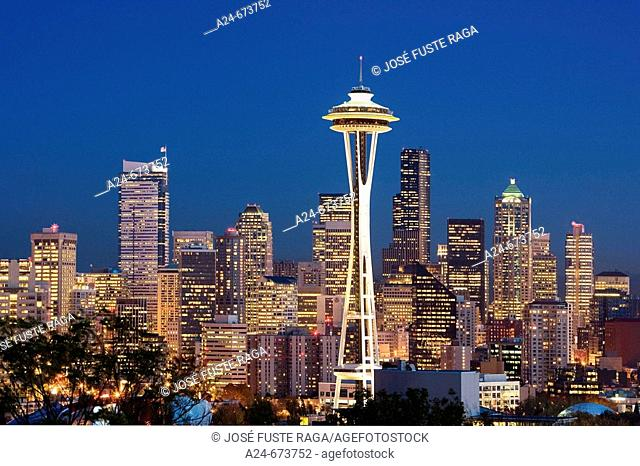 Oct. 2007. USA. Washington State. Seattle City. Space Needle and down town Seattle