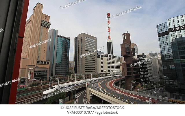 Japan-Tokyo City-The Bullet Train through Ginza District