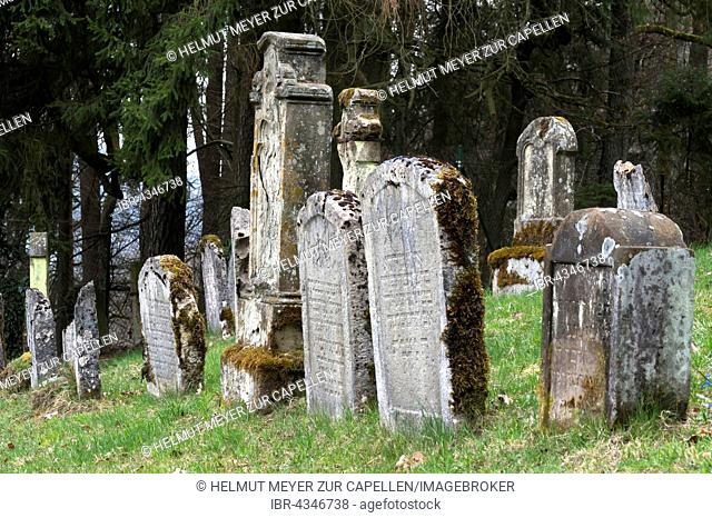 Old, dilapidated grave stones, Jewish cemetary in Ermreuth, Upper Franconia, Bavaria, Germany
