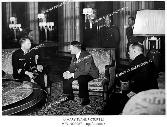 Captain Lieutenant Prien and a U-Boat commander visit the new Reich Chancellery after torpedoing the English battleship Royal Oak and the battle cruiser Repulse