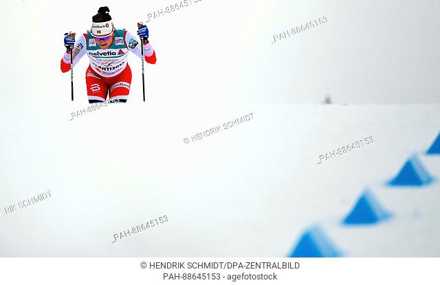 Maiken Caspersen Falla from Norway in action during the women's 4x5 km cross-country relay event at the Nordic Ski World Championship in Lahti, Finland