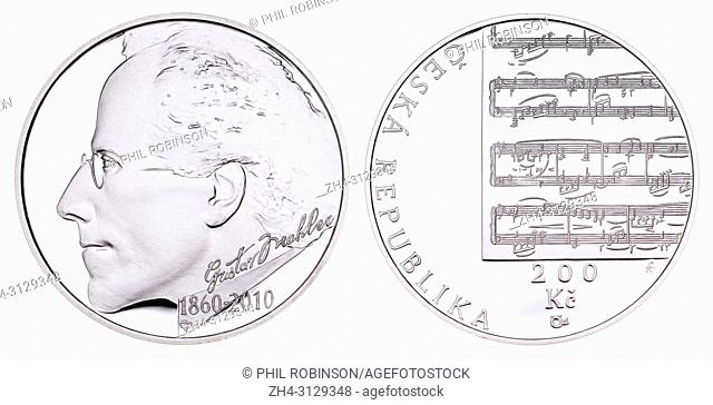 200Kc Silver commemorative coin (2010) from the Czech Republic: 150th anniversary of the birth of composer Gustav Mahler