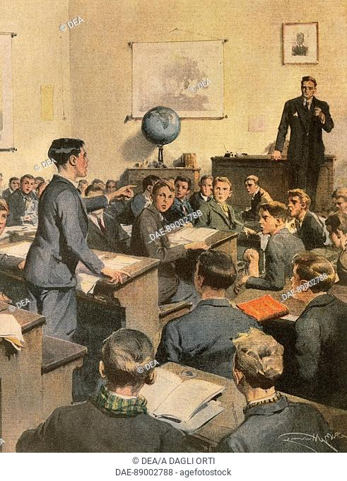 Fighting illiteracy: children at school. Illustrator Achille Beltrame (1871-1945), from La Domenica del Corriere, 1935
