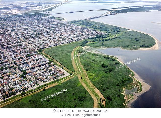 New York, Queens, John F. Kennedy International Airport, JFK, aerial, approach, Jamaica Bay, Howard Beach, Spring Creek Park