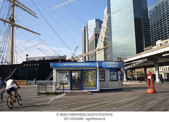 South Street and Seaport Museum in Pier 15, 16 and 17. Lower Manhattan, New York City, United States