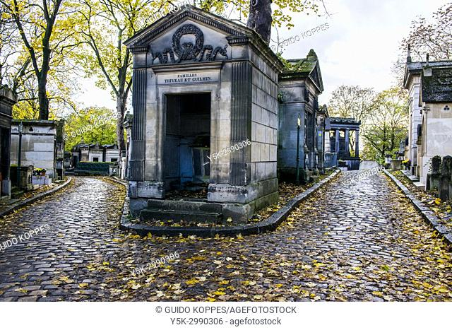 Paris, France. Tombs for deceased people and relatives at graveyard and cementary Pere La Chaise. The cemetery is one of the major travel destinations of the...
