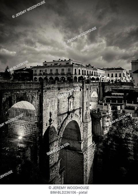 Bridge under storm clouds, Ronda, Andalucia, Spain
