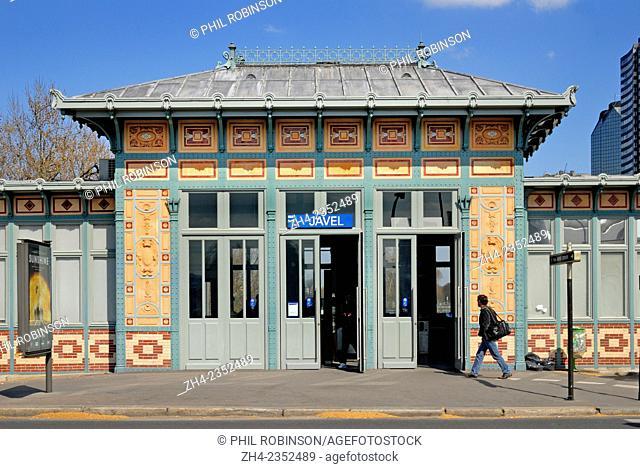 Paris, France. Javel - Andre Citroen Metro Station (Line 10 / RER C) opened 1913