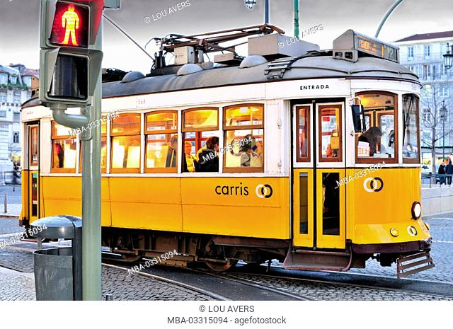 Portugal, Lisbon, nostalgic streetcar 'Electrico' in the lower city