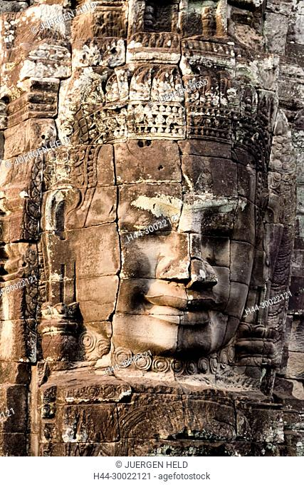 Monumental stone faces at Bayon Temple, Angkor Thom, Cambodia, Asia
