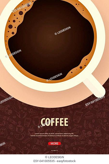 Cup of Black coffee with the hand-draw doodle elements on the background. Coffee poster for ads