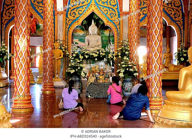 Thailand Phuket Ornate interior of Wat Chalong