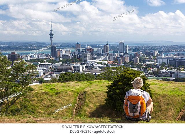 New Zealand, North Island, Auckland, elevated skyline from Mt. Eden volcano cone