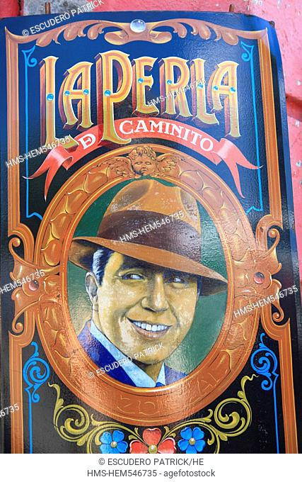 Argentina, Buenos Aires, La Boca district, detail of La Perla de Caminito sign on Mendoza Avenue near Caminito Street, the tango singer Carlos Gardel nicknamed...