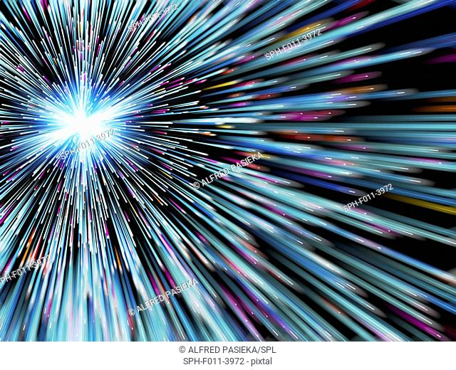Conceptual computer artwork of rays emitting particles. This could depict travel near the speed of light, cosmic rays, particle emitters, particle tracks