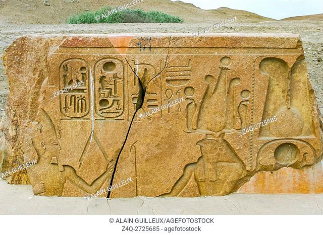 Egypt, Nile Delta, Tanis, relief on the modern processional way to the temple : Ramses runs in front of the god Horakhty