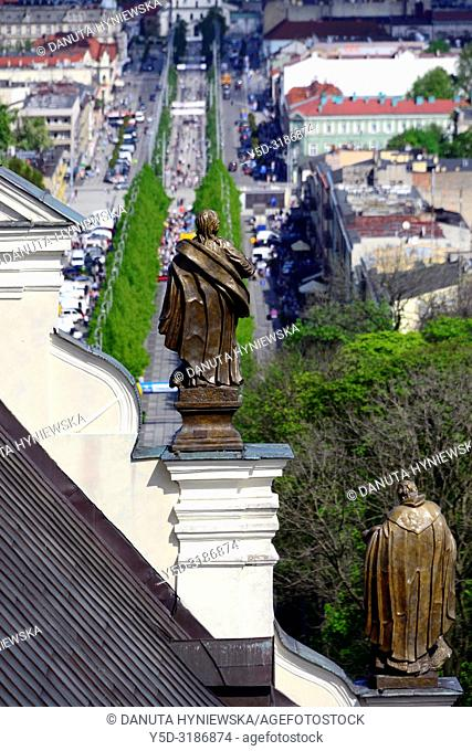 View for main avenue in Czestochowa - Holy Virgin Mary Avenue from tower of Jasna Gora Basilica, Jasna Gora is the most famous Polish pilgrimage site -...
