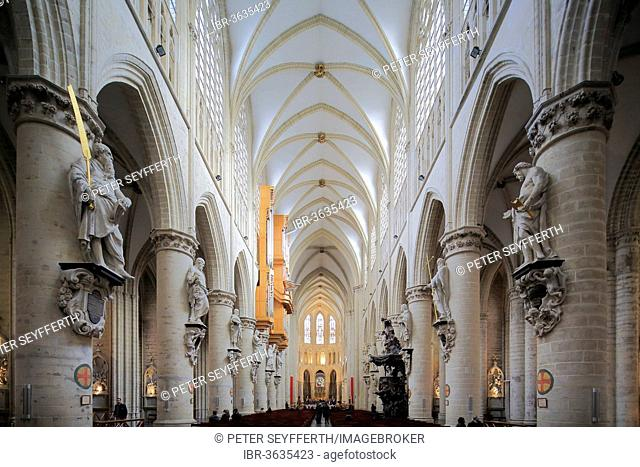 Nave, Cathedral of St. Michael and St. Gudula, Brussels, Brussels Region, Belgium
